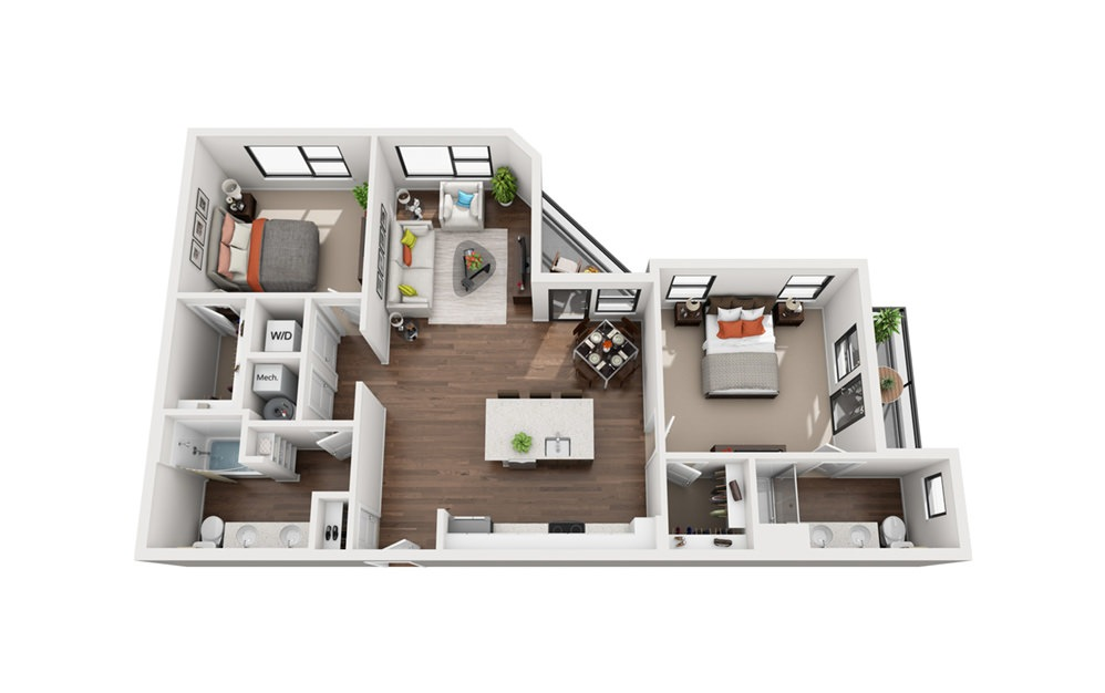 Amelia - 2 bedroom floorplan layout with 2 bath and 1172 square feet (1st floor 2D)