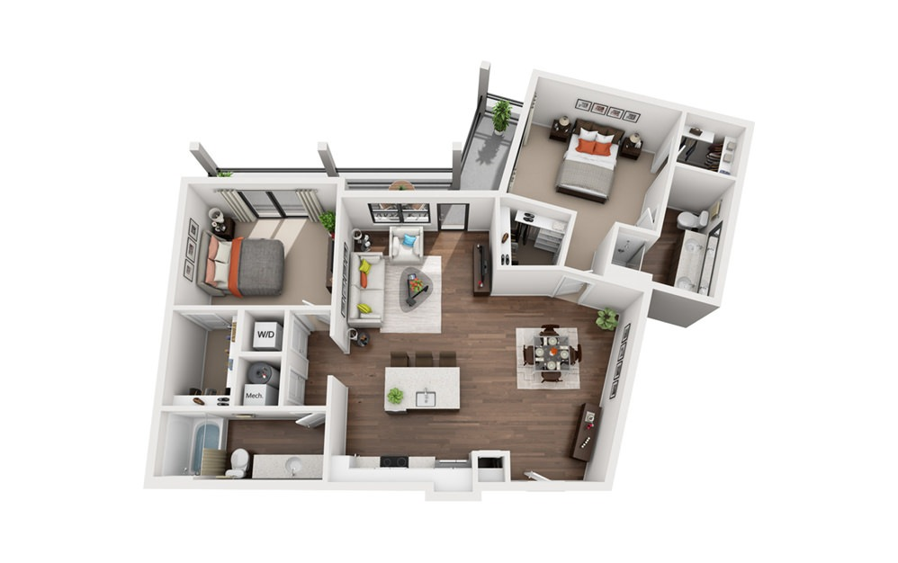 Anthony - 2 bedroom floorplan layout with 2 bath and 1222 square feet (1st floor 2D)