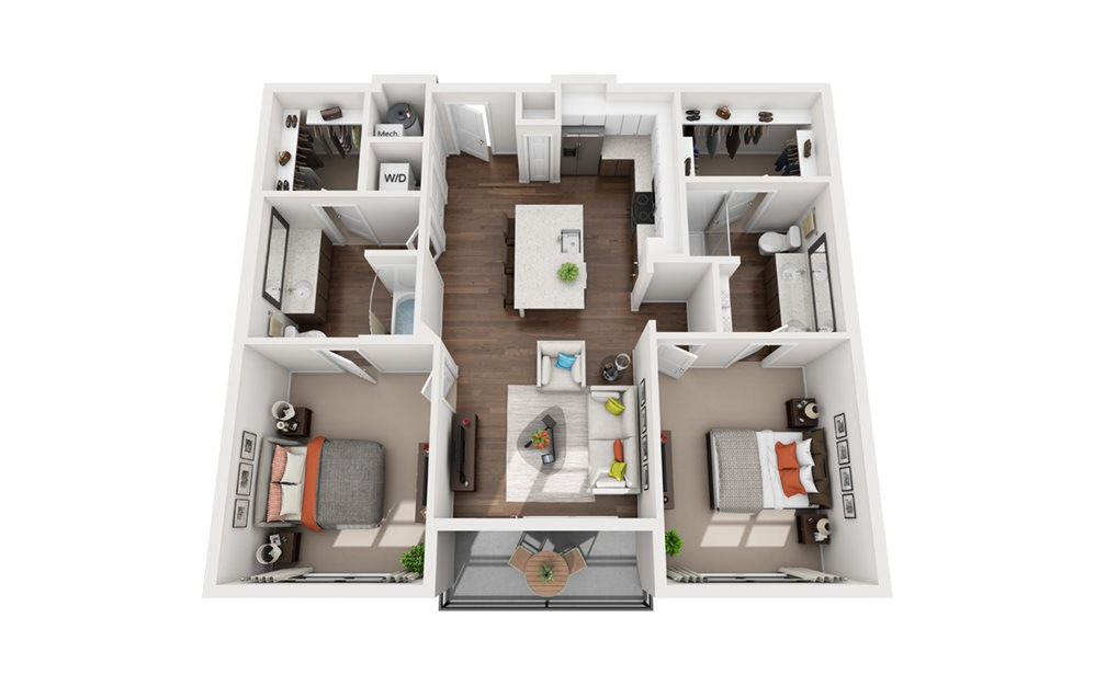 Bell - 2 bedroom floorplan layout with 2 bath and 1095 to 1119 square feet (1st floor 2D)