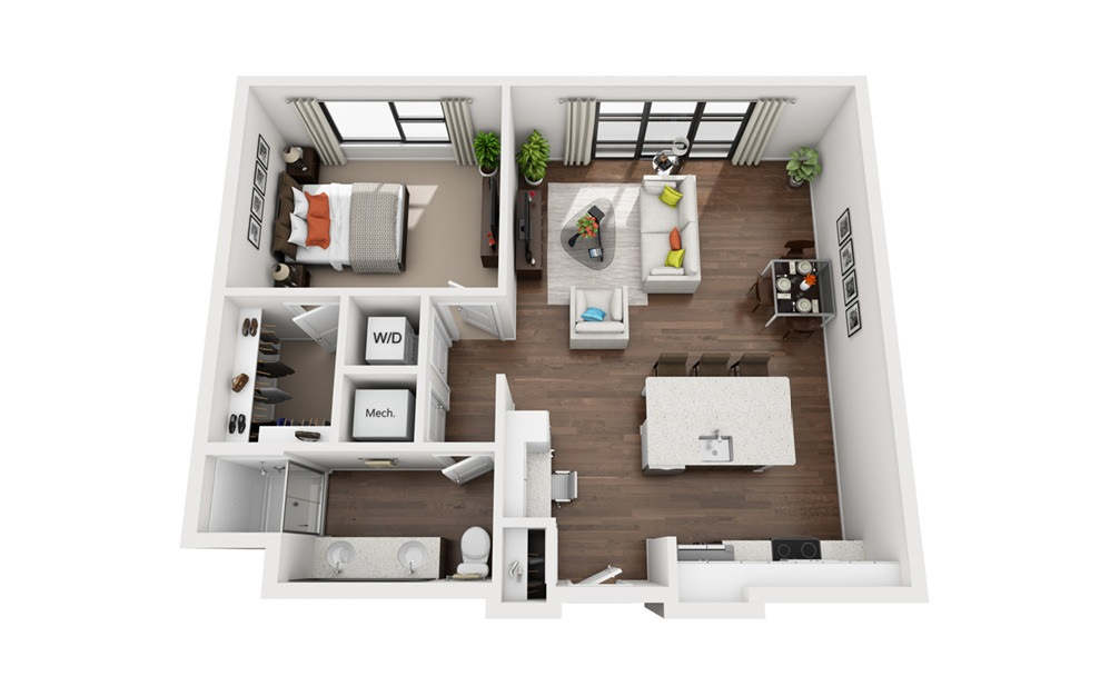 Carver - 1 bedroom floorplan layout with 1 bath and 845 to 849 square feet (1st floor 2D)
