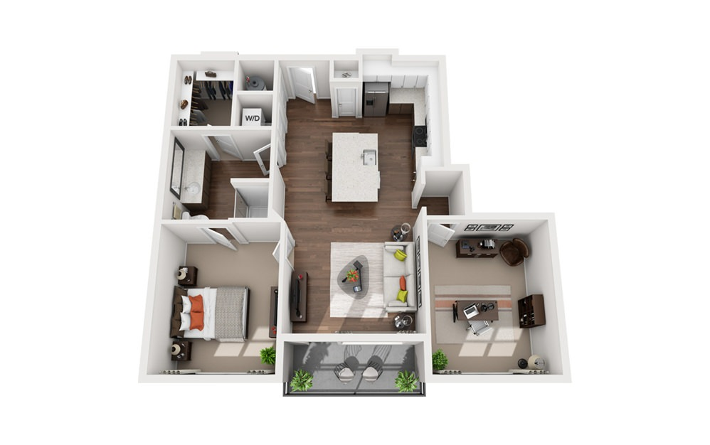 Curie - 1 bedroom floorplan layout with 1 bath and 970 square feet (1st floor 2D)