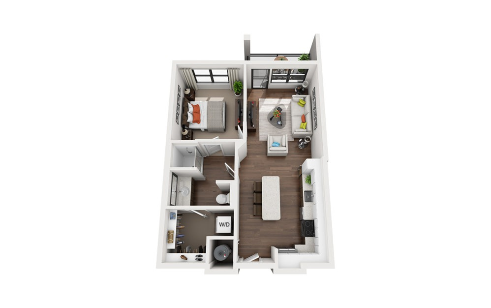 Edison - 1 bedroom floorplan layout with 1 bath and 676 square feet (1st floor 2D)