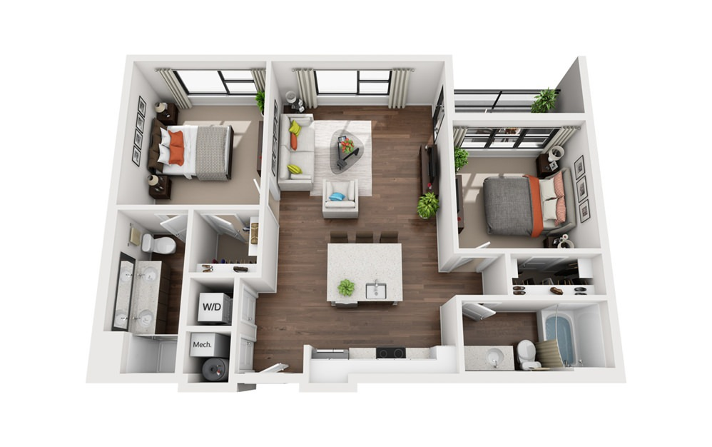 Einstein - 2 bedroom floorplan layout with 2 bath and 1001 square feet (1st floor 2D)