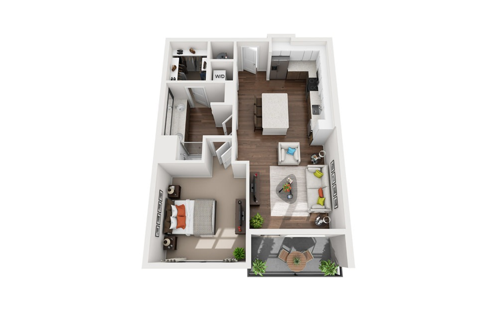 Franklin - 1 bedroom floorplan layout with 1 bath and 980 square feet (1st floor 2D)
