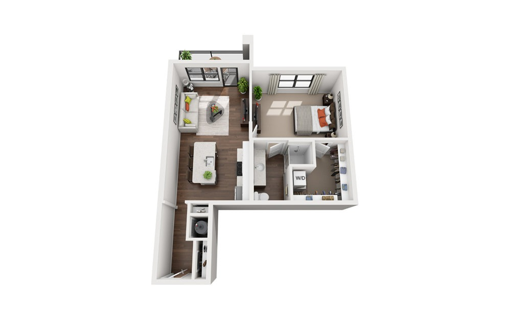 Hertz - Studio floorplan layout with 1 bath and 754 square feet (1st floor 2D)