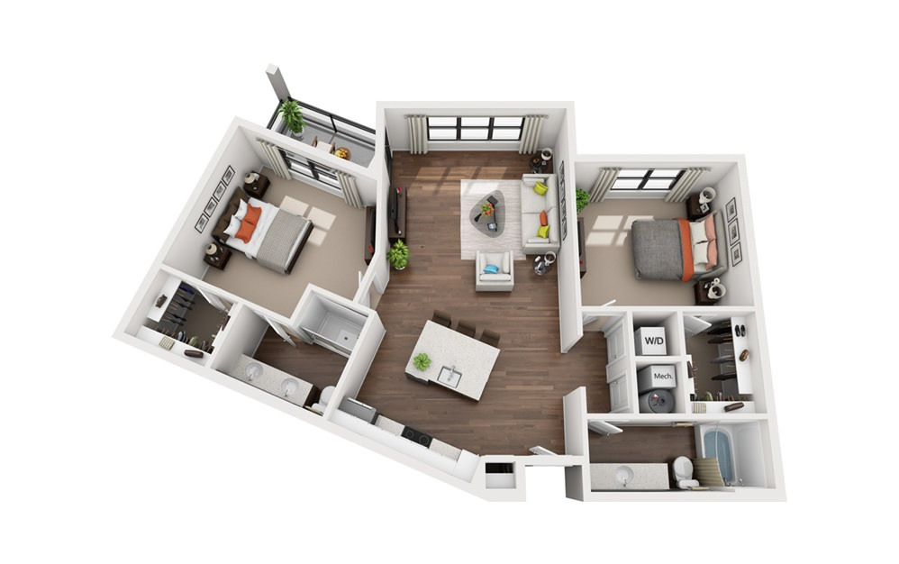 Tesla - 2 bedroom floorplan layout with 2 bath and 1213 square feet (1st floor 2D)