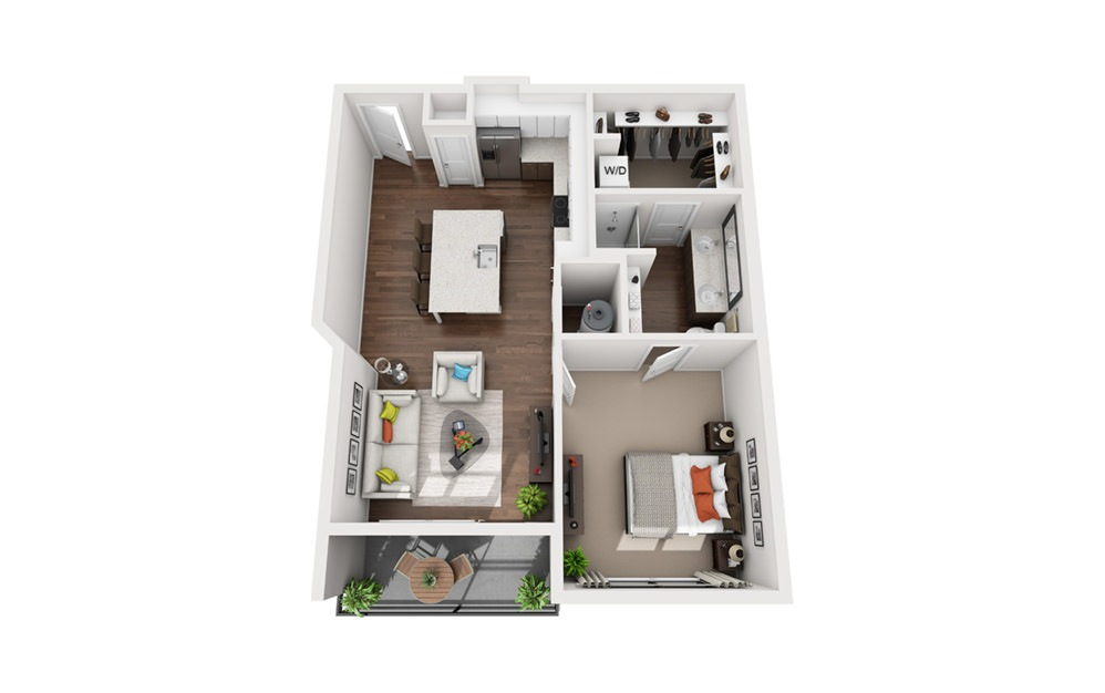 Verne - 1 bedroom floorplan layout with 1 bath and 750 to 790 square feet (1st floor 2D)