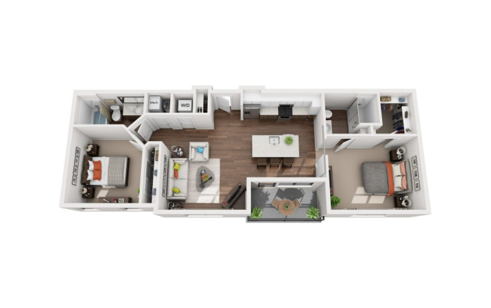 Watt - 2 bedroom floorplan layout with 2 bath and 1060 square feet (1st floor 2D)