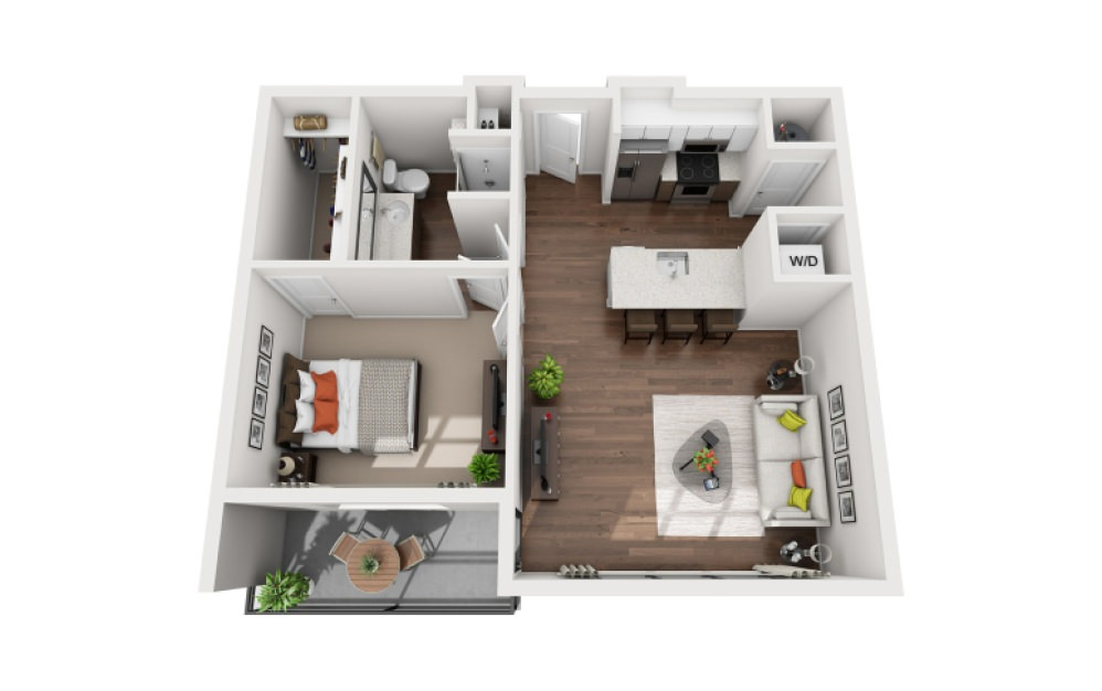 Wells - 1 bedroom floorplan layout with 1 bath and 750 to 780 square feet (1st floor 2D)