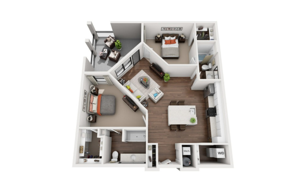 Wright - 2 bedroom floorplan layout with 2 bath and 1184 square feet (1st floor 2D)