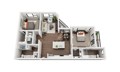 Amelia - 2 bedroom floorplan layout with 2 bath and 1172 square feet