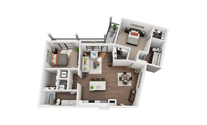 Anthony - 2 bedroom floorplan layout with 2 bath and 1222 square feet