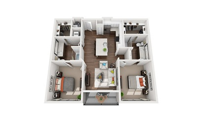 Bell - 2 bedroom floorplan layout with 2 bath and 1095 to 1119 square feet
