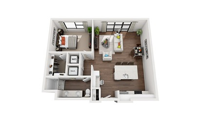 Carver - 1 bedroom floorplan layout with 1 bath and 845 to 849 square feet
