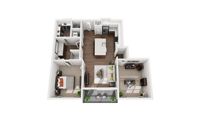 Curie - 1 bedroom floorplan layout with 1 bath and 970 square feet