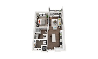 Edison - 1 bedroom floorplan layout with 1 bath and 676 square feet
