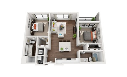 Einstein - 2 bedroom floorplan layout with 2 bath and 1001 square feet