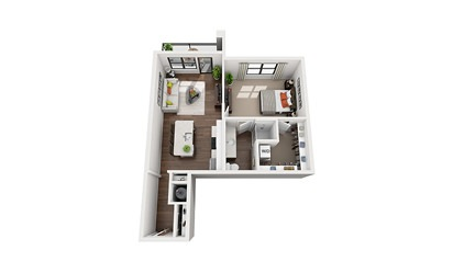 Hertz - Studio floorplan layout with 1 bath and 754 square feet