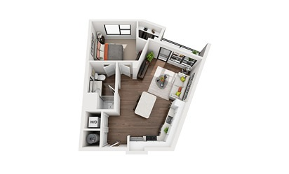 Maxwell - Studio floorplan layout with 1 bath and 636 square feet