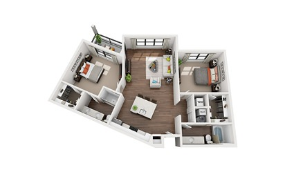 Tesla - 2 bedroom floorplan layout with 2 bath and 1213 square feet