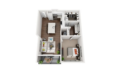 Verne - 1 bedroom floorplan layout with 1 bath and 750 to 790 square feet
