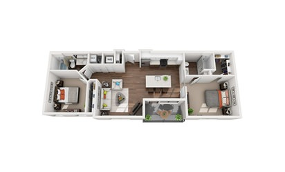 Watt - 2 bedroom floorplan layout with 2 bath and 1060 square feet