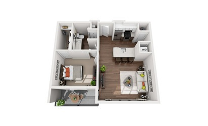 Wells - 1 bedroom floorplan layout with 1 bath and 750 to 780 square feet