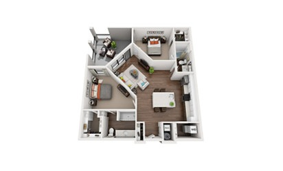 Wright - 2 bedroom floorplan layout with 2 bath and 1184 square feet