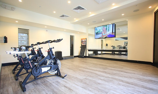 Fitness center has spin bikes